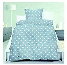 Traumhafte Bettwäsche aus Flanell - Sterne blau 135x200 von ka