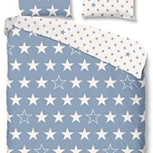 Schöne Bettwäsche aus Flanell - Sterne blau 155x220 von Good Morning!