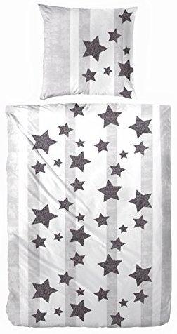 Schöne Bettwäsche aus Flanell - Sterne grau 135x200 von Aminata Kids
