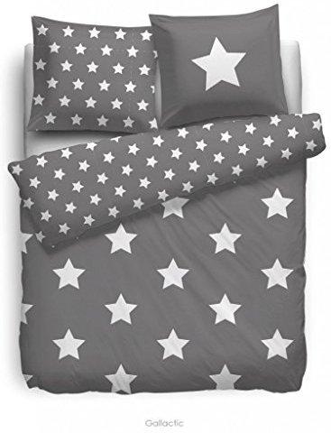 kuschelige bettw sche aus flanell sterne grau 135x200 von f2f bettw sche. Black Bedroom Furniture Sets. Home Design Ideas