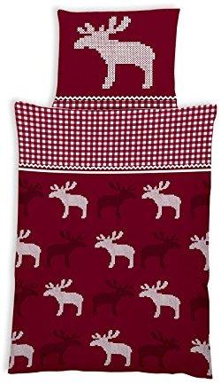 Hübsche Bettwäsche aus Flanell - Weihnachten rot 135x200 von ka