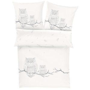 Hübsche Bettwäsche aus Flanell - weiß 155x220 von Ibena