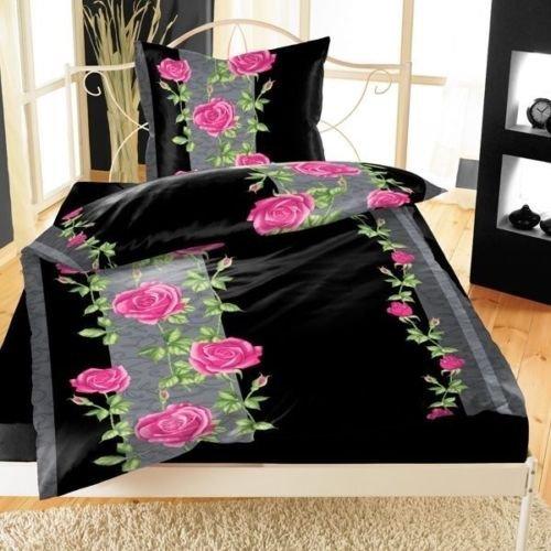sch ne bettw sche aus fleece rosen schwarz 135x200 von bertels bettw sche. Black Bedroom Furniture Sets. Home Design Ideas
