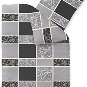 Hübsche Bettwäsche aus Fleece - schwarz 155x220 von CelinaTex