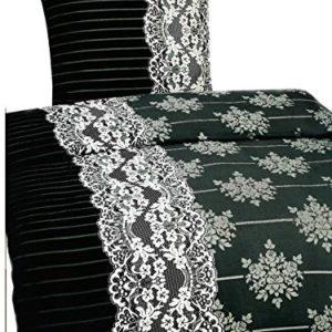 Hübsche Bettwäsche aus Fleece - schwarz weiß 135x200 von Leonado Vicenti