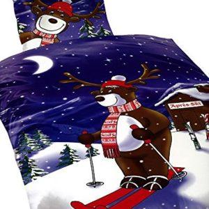 Schöne Bettwäsche aus Fleece - Weihnachten braun 135x200 von 1stB HOME