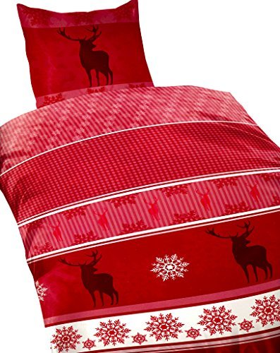 traumhafte bettw sche aus fleece weihnachten rot 155x220 von bertels bettw sche. Black Bedroom Furniture Sets. Home Design Ideas