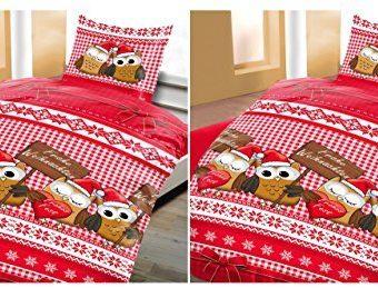 Kuschelige Bettwäsche aus Fleece - Weihnachten weiß 135x200 von Wasserbetten-Markenshop