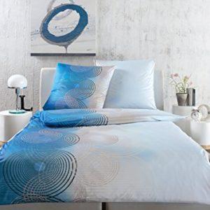 Kuschelige Bettwäsche aus Jersey - blau 155x220 von Estella