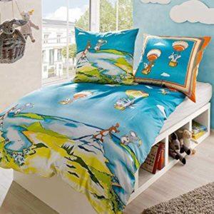 Kuschelige Bettwäsche aus Linon - blau 135x200 von Kaeppel