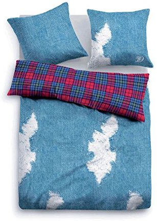 Hübsche Bettwäsche aus Linon - blau 135x200 von TOM TAILOR