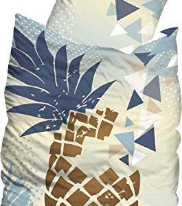 Hübsche Bettwäsche aus Linon - blau 155x220 von Sueños