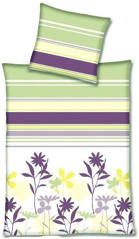 Kuschelige Bettwäsche aus Linon - grün 155x220 von Primera