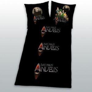 Hübsche Bettwäsche aus Linon - schwarz 135x200 von