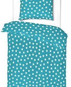 Kuschelige Bettwäsche aus Linon - Sterne türkis 135x200 von Aminata Kids