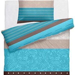 Kuschelige Bettwäsche aus Linon - türkis 135x200 von DecoHomeTextil