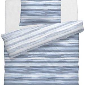 Schöne Bettwäsche aus Mako-Satin - blau 135x200 von HnL Living