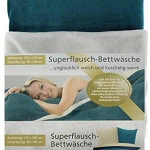 Hübsche Bettwäsche aus Mako-Satin - petrol 135x200 von Gözze