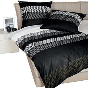 Kuschelige Bettwäsche aus Mako-Satin - schwarz 155x200 von Janine