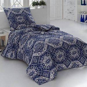 Schöne Bettwäsche aus Perkal - blau 155x200 von saleandmore