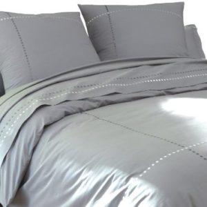 Traumhafte Bettwäsche aus Perkal - grau 220x240 von BLANC CERISE