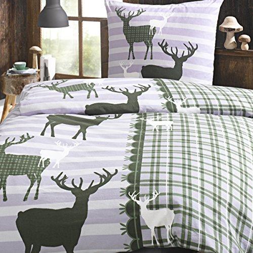 kuschelige bettw sche aus perkal gr n 155x220 von trend bettw sche. Black Bedroom Furniture Sets. Home Design Ideas
