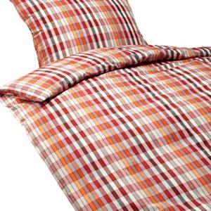 Kuschelige Bettwäsche aus Perkal - rot 155x220 von Brennet