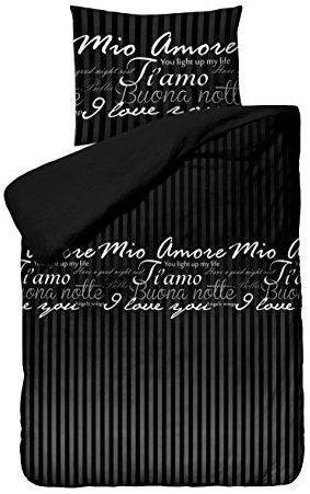Traumhafte Bettwäsche aus Perkal - schwarz 200x200 von SleepTime