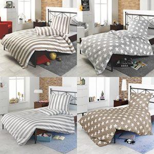 Kuschelige Bettwäsche aus Perkal - Sterne grau 135x200 von 4 Trendy Living