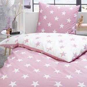 Schöne Bettwäsche aus Perkal - Sterne rosa 135x200 von Trend