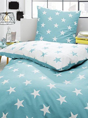 kuschelige bettw sche aus perkal sterne t rkis 135x200 von trend bettw sche. Black Bedroom Furniture Sets. Home Design Ideas