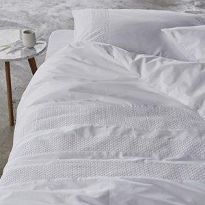 Hübsche Bettwäsche aus Perkal - weiß 135x200 von Essenza