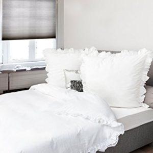 Kuschelige Bettwäsche aus Perkal - weiß 155x220 von HnL Living
