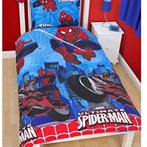 Kuschelige Bettwäsche aus Polyester - Spiderman blau 135x200 von Marvel