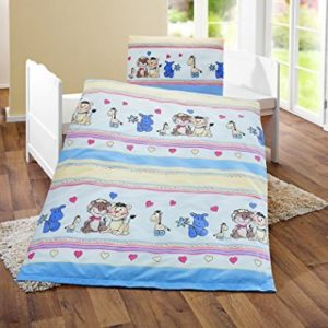 Hübsche Bettwäsche aus Renforcé - blau 100x135 von Bierbaum