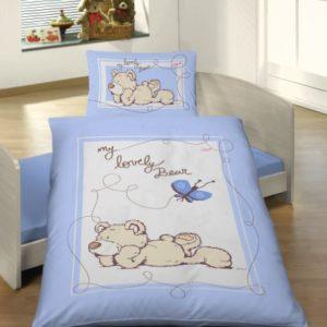 Schöne Bettwäsche aus Renforcé - blau 100x135 von