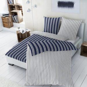 Hübsche Bettwäsche aus Renforcé - blau 135x200 von