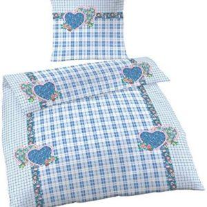 Traumhafte Bettwäsche aus Renforcé - blau 135x200