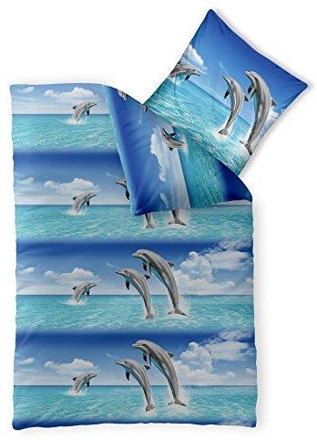 Traumhafte Bettwäsche aus Renforcé - blau 155x220 von CelinaTex
