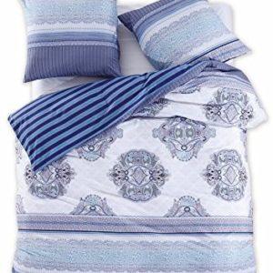 Hübsche Bettwäsche aus Renforcé - blau 200x200 von DecoKing