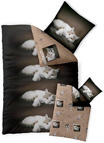 Hübsche Bettwäsche aus Renforcé - braun 135x200 von CelinaTex