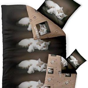 Kuschelige Bettwäsche aus Renforcé - braun 155x220 von CelinaTex