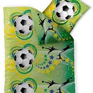 Kuschelige Bettwäsche aus Renforcé - Fußball schwarz 135x200 von CelinaTex