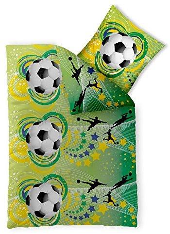 Kuschelige Bettwäsche aus Renforcé - Fußball schwarz 155x220 von CelinaTex