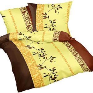 Kuschelige Bettwäsche aus Renforcé - gelb 135x200 von Heubergshop