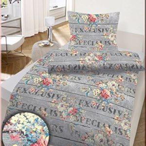 Schöne Bettwäsche aus Renforcé - grau 155x220