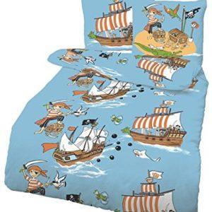 Schöne Bettwäsche aus Renforcé - Piraten blau 135x200 von CMFashion