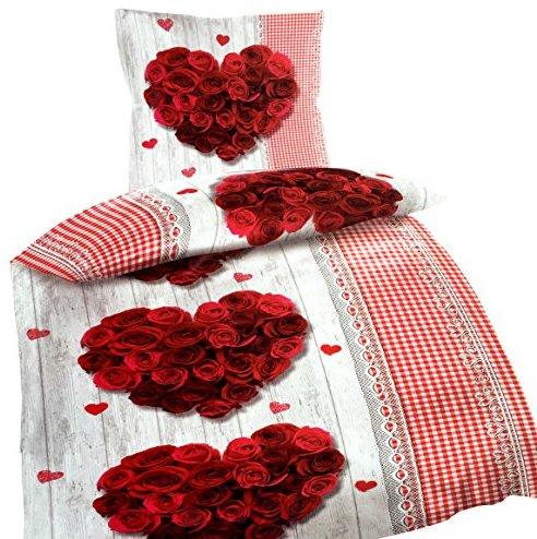 sch ne bettw sche aus renforc rosen grau 135x200 von. Black Bedroom Furniture Sets. Home Design Ideas