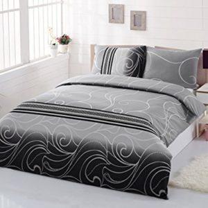 Hübsche Bettwäsche aus Renforcé - schwarz 135x200 von GH Homeshop
