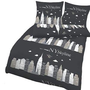 Hübsche Bettwäsche aus Renforcé - schwarz 135x200 von Ido